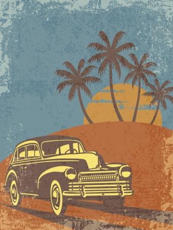 illustratie van vintage auto op het strand met palmen en zonsondergang Vector Illustratie