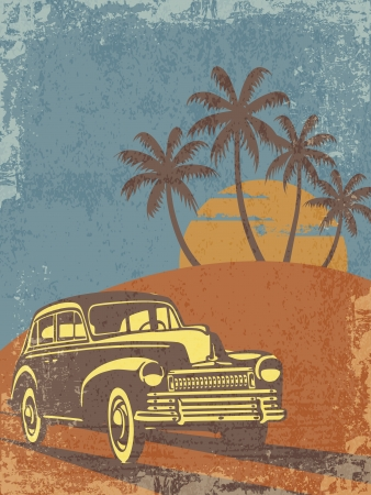 california beach: illustration of vintage car on the beach with palms and sunset