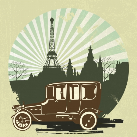 classic retro car with vintage Eiffel Tower background Vector