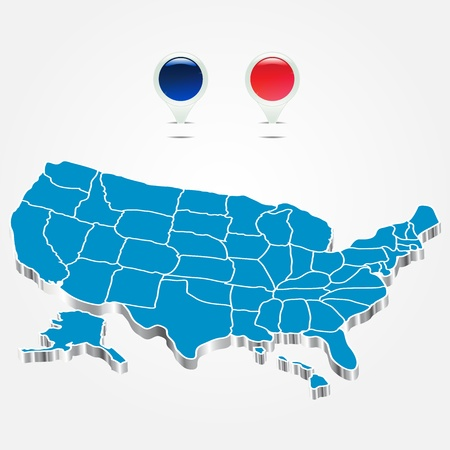 The electoral districts pined on 3d USA map Vector