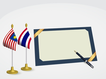 The signed agreement between Thailand and Malaysia  Vector