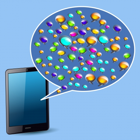 Tablet with colorful coloured speech bubbles Vector