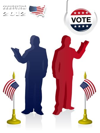 voters: 2012 U S  Presidential Election poster and background Illustration