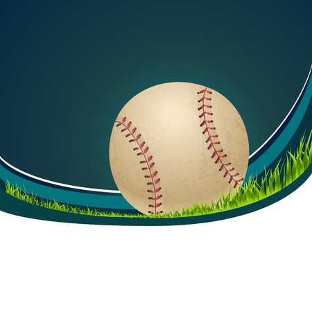 outfield: Softball in grass close up isolated on white with copy space Illustration