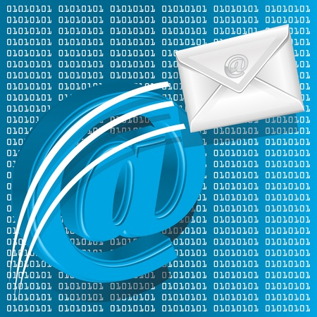 Email symbol on digital number technology theme background Stock Vector - 14698870