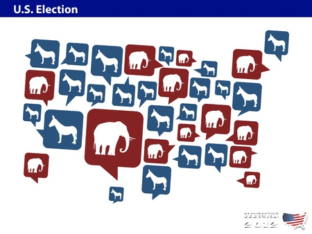 democrat or republican in US presidential 2012 election Vector