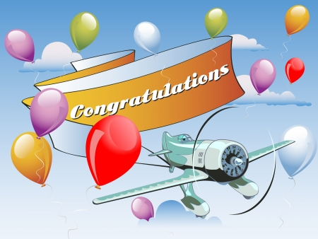 Aircraft with congratulations at tail and balloons in the sky Vector