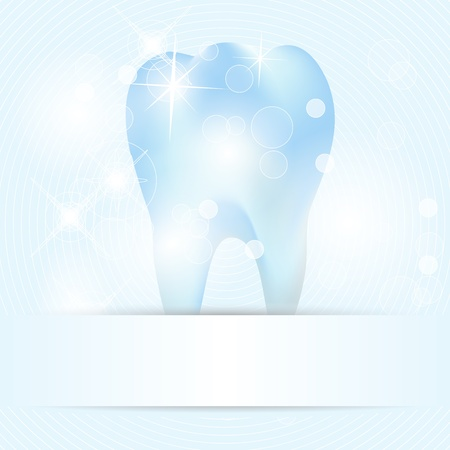 Blue dental background with clean and bright tooth Vector