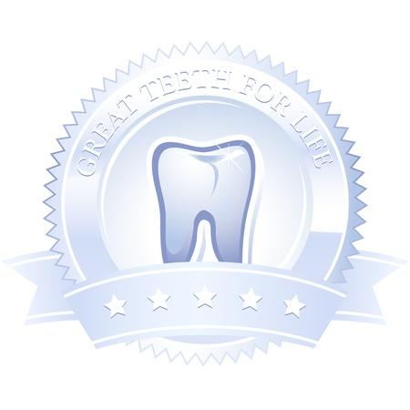 Emblem Medaille Zahn große Zähne ein Leben lang Illustration