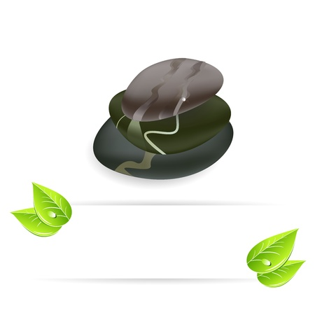 Spa background of black pebble with leaf and copy space Stock Vector - 14698876