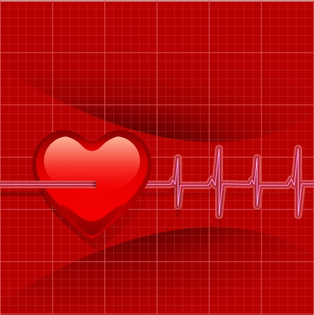 Heart Beats Cardiogram on Red background  Vector