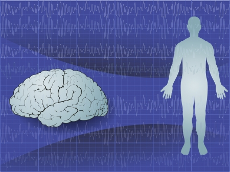 abstract background with human brain and brainwave