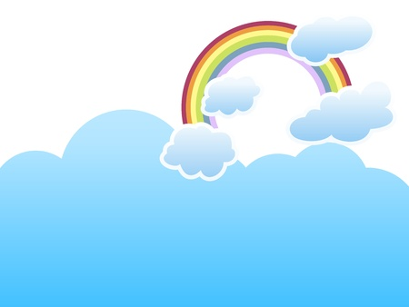 clouds with a rainbow on sky blue background Illustration