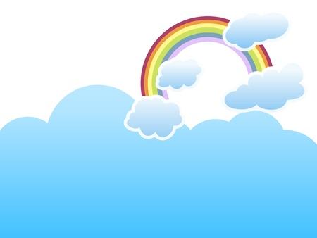 ciel rouge: nuages ??avec un arc en ciel sur fond de ciel bleu