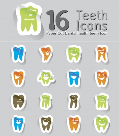 whiten: paper cut dental health teeth icon Illustration