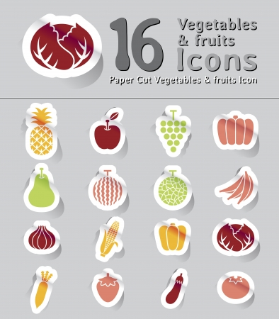 grapes and mushrooms: colorful set of paper cut vegetables and fruits icon Illustration