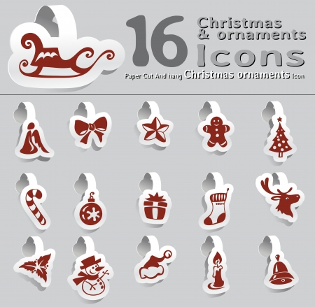 set of paper cut and hang Christmas and ornaments icon Vector