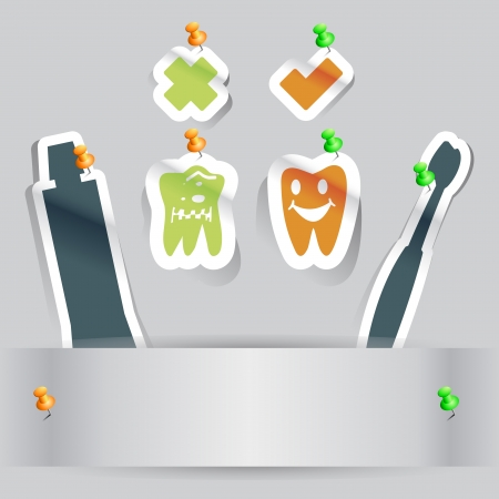 paper cut dental health teeth icon with copy space Stock Vector - 14698880