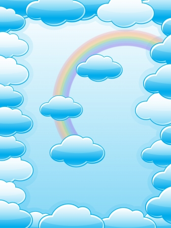clouds with a rainbow on sky blue background Stock Vector - 14698894