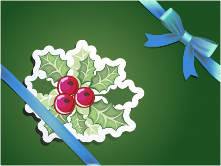 paper cut Christmas cards with holly berry and blue ribbons Stock Vector - 14698895