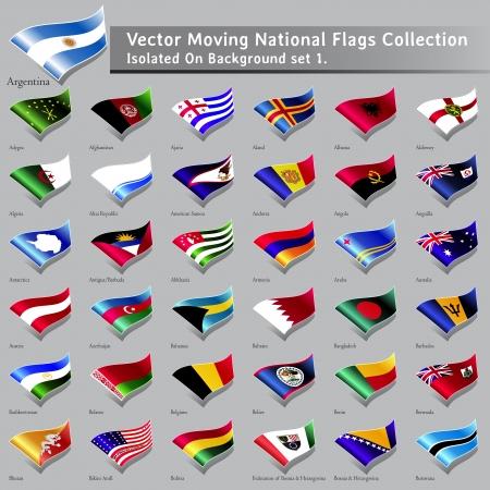 moviendo Banderas Nacionales del mundo aislado ajuste 1 Vectores
