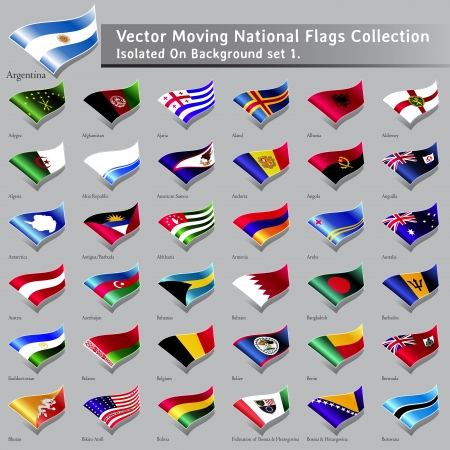 moving National Flags of the world isolated set 1 Vector
