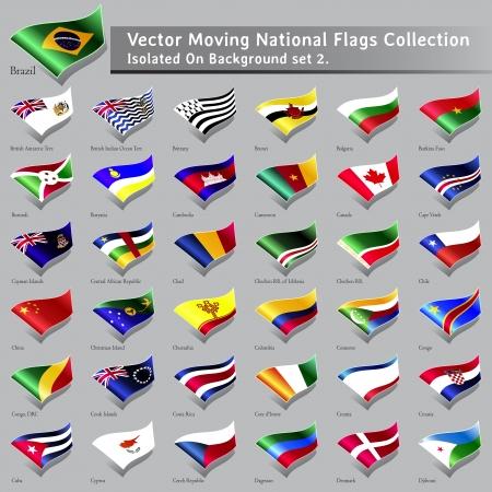 Bewegen Nationalflaggen der Welt isoliert Set 2