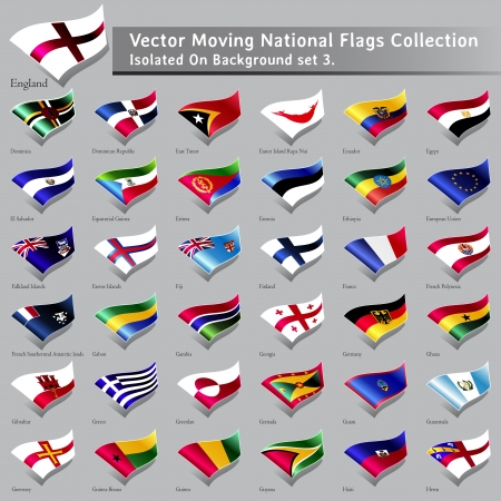 republic of ecuador: moving National Flags of the world isolated set 3 Illustration