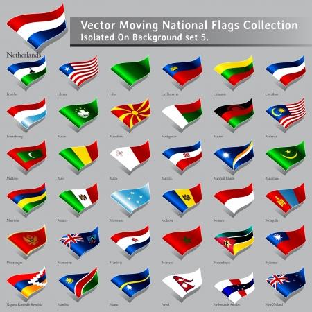 bandera de nueva zelanda: moviendo Banderas Nacionales del mundo aislado conjunto de 5 Vectores