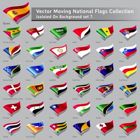 moving National Flags of the world isolated set 7 Editorial