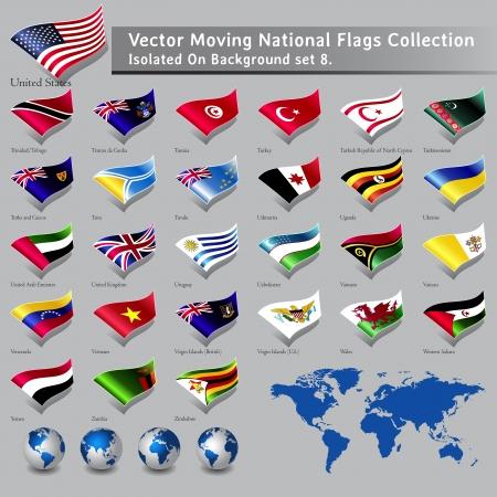 moviendo las banderas nacionales del mundo aisladas conjunto 8 Vectores