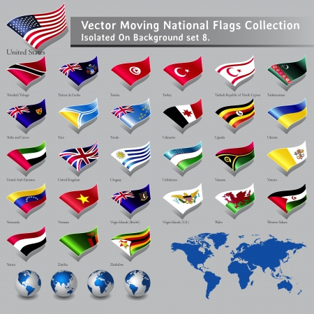 moving National Flags of the world isolated set 8 Vector