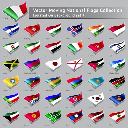 moviendo las banderas nacionales del mundo aislados conjunto de 4