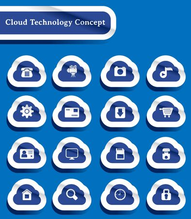 set of paper cut technology of cloud computing icon Stock Vector - 14698916