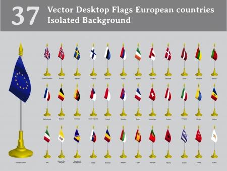 Desktop-Flaggen europäischer Länder isoliert Hintergrund Set Illustration