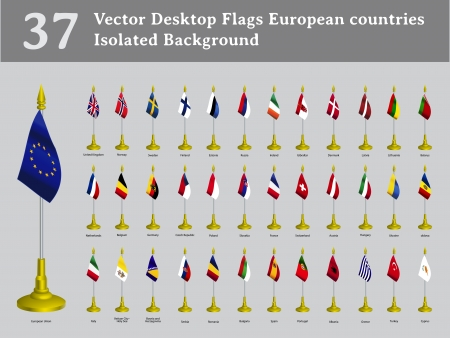 desktop flags European countries isolated background set Illustration