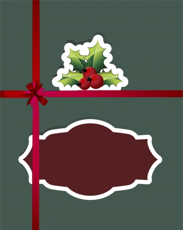 paper cut Christmas cards with holly berry and red ribbons Vector