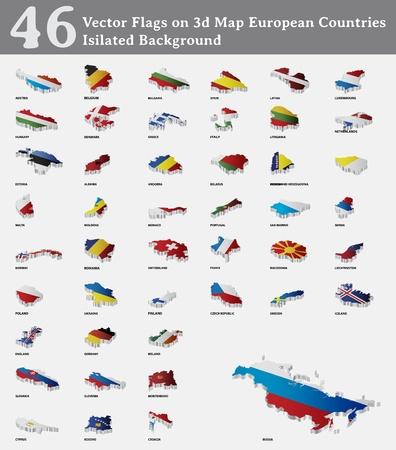 czech switzerland: Bandiere su 3d Paesi europei Mappa isilated Sfondo