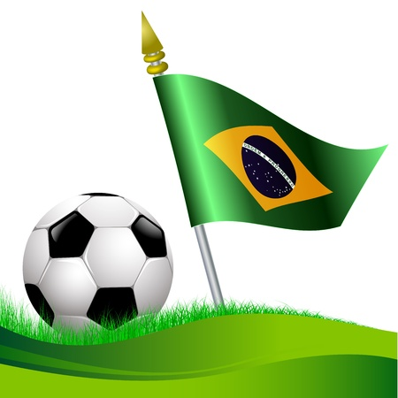 world championship: soccer football with Brazil flag waving at background