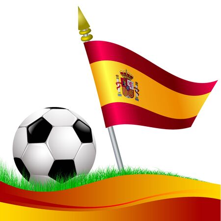 soccer football with Spain flag waving at background Vector