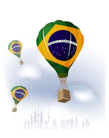 Air Balloon Brazilian Flag flying on sky Vector