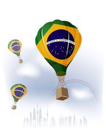 Air Balloon Brazilian Flag flying on sky Stock Vector - 14813034