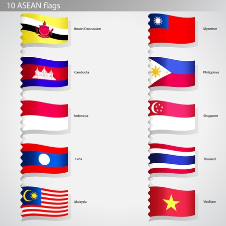 asean: Isolated Asian countries flags collection set Editorial