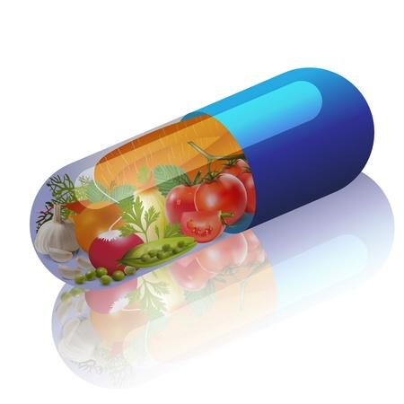 gezondheid: groenten in capsule concept van vitamine uit groenten