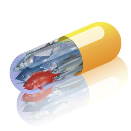 Fische in kapsel konzept Vitamin aus Fischen Illustration