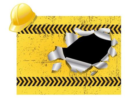Under construction plate with antiknock helmet Vector