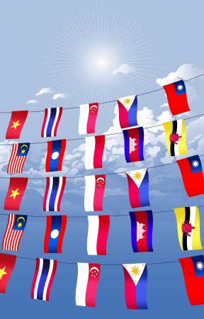 Asian countries decorated and hanging the Asian flags