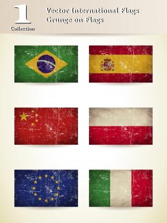 international Flags Gunge on Flags set 1 Vector