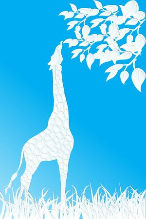 paper cut design Giraffe eating leaves on sky blue background