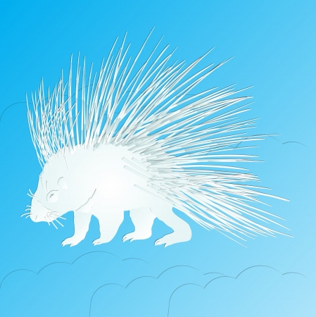 paper cut design Porcupine on sky blue background Vector